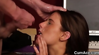 Peculiar stunner gets cumshot on her face sucking all the jizz