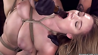 Busty hogtied babe takes dick on a stick
