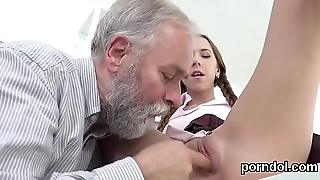 Lovely college girl is seduced and screwed by aged schoolteacher