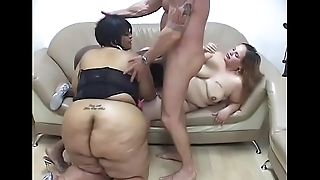 Interracial trio of bisexual BBW give white stud BJ