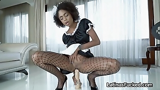 Exotic maid switches fat dildo for big cock