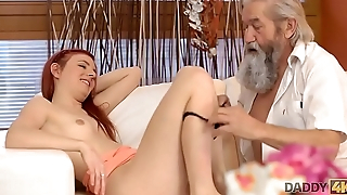 DADDY4K. Guy coupled with his old daddy team up to punish slutty girlfriend