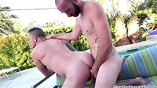 Deepthroating bare barebacked outdoors